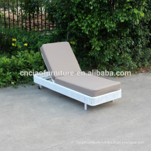 Outdoor White Wicker Lounge With PE Leather Cushion