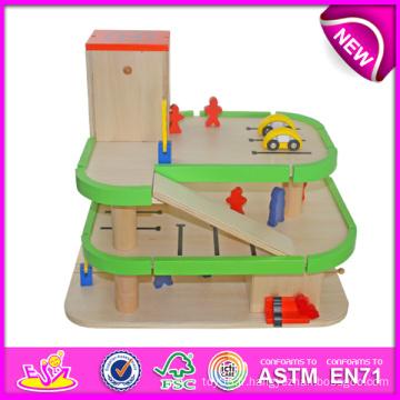 Élément chaud en bois parking parc pour enfants, parc de jouets pour enfants jouets voiture parking, jouet en bois jouet drôle parking pour bébé w04b007