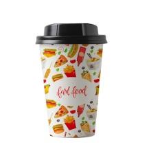 8 унций 10 унций 12 унций биоразлагаемый одноразовый пластиковый бамбуковый бумажный стаканчик с печатным дизайном, логотипом и крышками для горячего кофе и чая