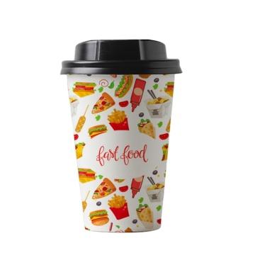 8 oz 10 oz 12 oz biodégradable jetable PLA imprimé tasse en papier de bambou compostable avec logo et couvercles pour café chaud et thé