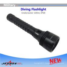 Jexree Diving Lampes de poche H3 Lampe de poche militaire tactique avec 3LED 2500 lumens lampe torche rechargeable
