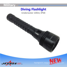 Jexree Diving Flashlights H3 Tactical military flashlight with 3LED 2500 lumens rechargeable led flashlight