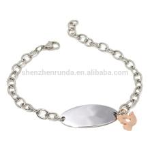 Atacado jóias de moda pulseira de aço inoxidável placa em branco com pomba de pingente de charme paz