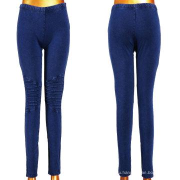 Хорошие стрейчевые темно-синие женские джинсовые поножи