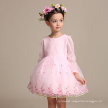 2017 cotton baby dress pictures embroidered gauze long sleeve flower girl dress
