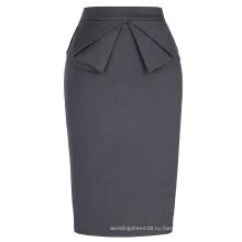 Грейс Карин женщин сплошной Цвет высокие эластичные бедра-завернутый серый винтажный Ретро карандаш юбка CL010454-5