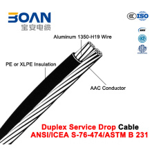 Duplex Service Drop Cable with AAC Neutral, (ANSI/ICEA S-76-474)