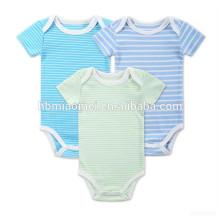 Onesie ropa de bebé conjunto azul verde y blanco pelado algodón orgánico pompón mameluco