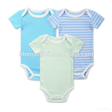 Onesie baby clothing set blue green and white stripped organic cotton baby pom pom romper