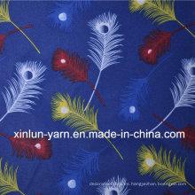 Tejidos de satén estampados de flores de poliéster con dibujos animados de plumas