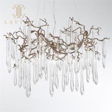 Brass chandelier modern bedroom led crystal pendant lamp