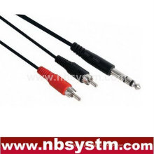 6.35mm Stereo Stecker Stecker auf 2 Cinch Stecker Stecker Kabel