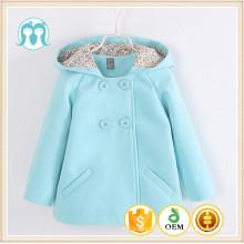 Les filles à double boutonnage laine manteau à capuche coupe-vent bébé filles hiver laine manteaux