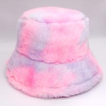 Winter Warm Plush Tie-Dyed Fisherman Cap Basin Cap