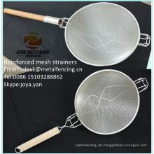 China einfache Reinigung Knopf Lebensmittelsiebe Draht gewebte Edelstahl Gesundheit Knödel Körbe Kochen Werkzeug verstärkt Mesh-Sieb
