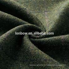 Tejido de tweed vintage verde 100% lana para tapa plana