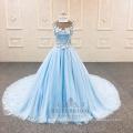 V-образным вырезом Синяя линия цветок вечернее платье последние платье фабрики Китая