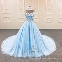 V-cuello azul una línea vestido de noche de la flor último vestido de fiesta fábrica de china