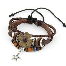 Fashion Four Leaf Clover Bracelets Multilayers Leather Bracelets Jewelry Wholesale FB30