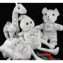 DIY Various Washable Reusable Kids Children Doodle Graffiti Blank Stuffed Doll Toy