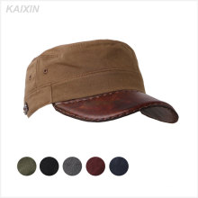 custom blank adjust flat top leather brim military cap hat
