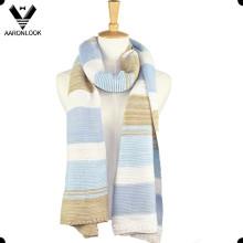 2016 New Winter Beautiful Stripe Big Womens Knit Scarf