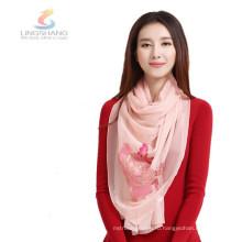 Lingshang 100% полиэстер длинные морщины простой цвет шелка леди шарф