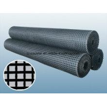 Geomalla de fibra de vidrio revestida con betún 50 / 50kn / M para refuerzo de asfalto