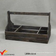 Handle Distressed Recycle Fir Wood Basket with Compartments