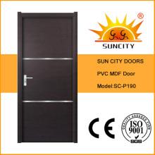 Porte en bois solide de PVC de l'usine de Chine la moins chère (SC-P190)