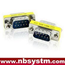 Adaptador del cambiador del género de rs232, varón de 9pin al adaptador masculino del azul