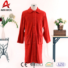 Wholesale solid color red coral fleece button bathrobe