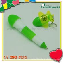 Рекламная складная пластиковая шариковая ручка с брелками