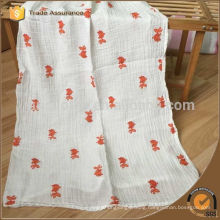 Wholesale fashion high quality with fish embroidery baby muslin swaddle blanket