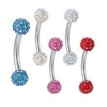 Crystal Dual Ferido Ball Eyebrow Barbell Bar