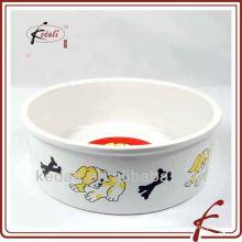 Porcelana de cerâmica pet tigela com decalque