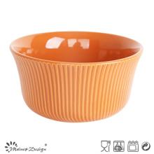 Bol de riz en céramique orange de 14 cm avec vitrage