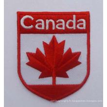 Badge tissé par coutume de correction de broderie de drapeau du Canada (GZHY-PATCH-002)