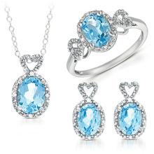 Conjunto de jóias de prata azul Topaz 925 grosso