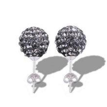 Серьги из белого серебра 925 пробы с кристаллами Shamballa с кристаллами BWE24