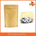 Laminiertes Material benutzerdefinierte Stand up Kraftpapier wiederverschließbare Reißverschluss Taschen für Kaffee