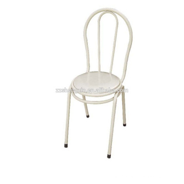 White Backrest Chair, Metal Leisure Chair Steel Tube for Home
