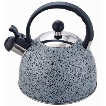 Чайник со свистком Серый мрамор Нержавеющая сталь