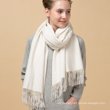 New design promotional custom digital milk white color printing pure 100% cashmere scarf