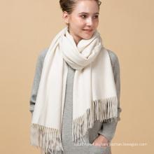 Новой конструкции выдвиженческий изготовленный на заказ цифровой молочно-белый цвет печать чистый 100% кашемир шарф