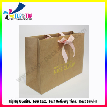 Kraft Paper Luxury Grosgrain Ribbon Handle Bag