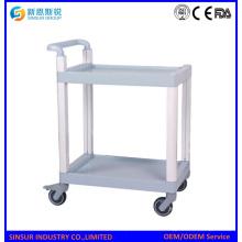Mulit Zweck ABS 2-Tier Regal Medizinische Ausrüstung Carts / Trolley