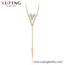 44950 Xuping alta calidad 18 k oro plateado collares de moda de diseño creativo para regalo