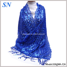 2014 Fashion Solid Blue Sequine Long Slim Scarf Shawl Wrap