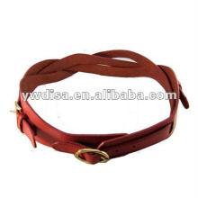 Новый стиль Красный натуральный кожаный пояс для женщины Плетеный кожаный пояс